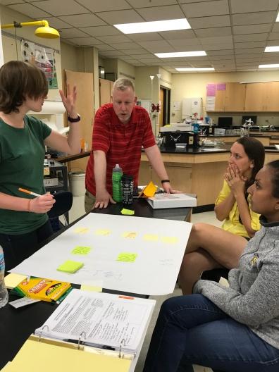 A PLT shares ideas during their whiteboard activity.